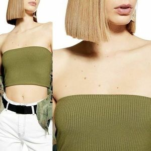 Topshop Rib Bandeau Strapless Tube Top Olive Green